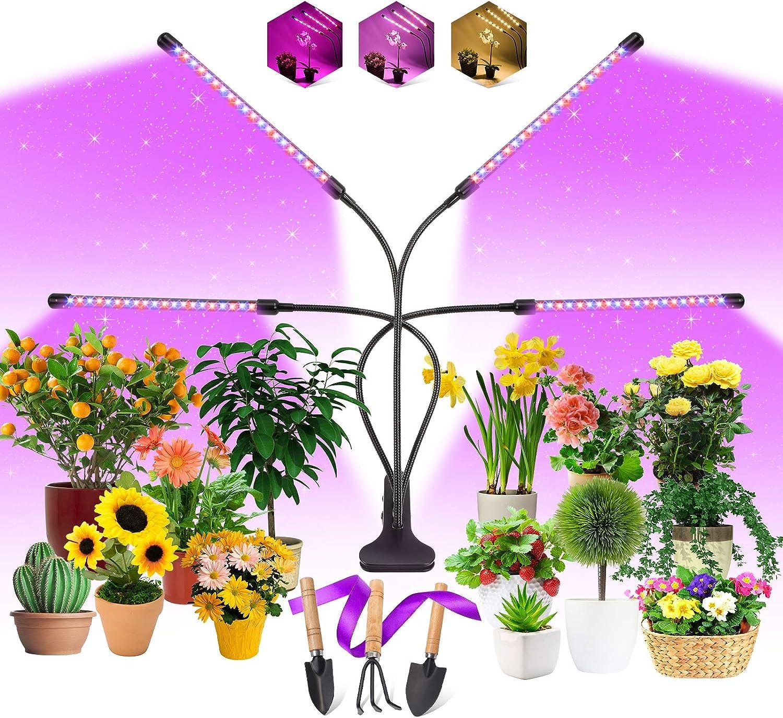 Lámpara de Planta, EWEIMA 80 LEDs Lámpara de Cultivo 4 Cabezales Espectro Completo LED Grow Light, Lámpara de Crecimiento Ledcon Temporizador 4/8/12H y 3 Modos de Luz, Para Jardinería Bonsai
