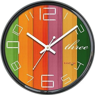 Random Perfect Round Plastic Wall Clock (28 cm x 28 cm x 5 cm, Black)