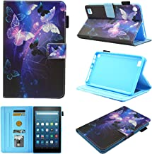 Kindle Fire 7 Case,Chgdss Cartoon Cute Case Auto Wake/Sleep Multi-Angle Viewing/Card Slots,for Kindle Fire 7 Tablet(9th Generation 2019 & 7th Generation 2017 & 5th Generation 2015), Purple Butterfly