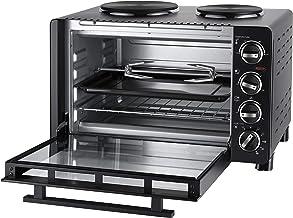 UNOLD 68885 - Cocina pequeña todo en uno, 600-1500 W, 30 L de capacidad, horno de parrilla y asador giratorio con 2 placas de cocción, metal, color negro