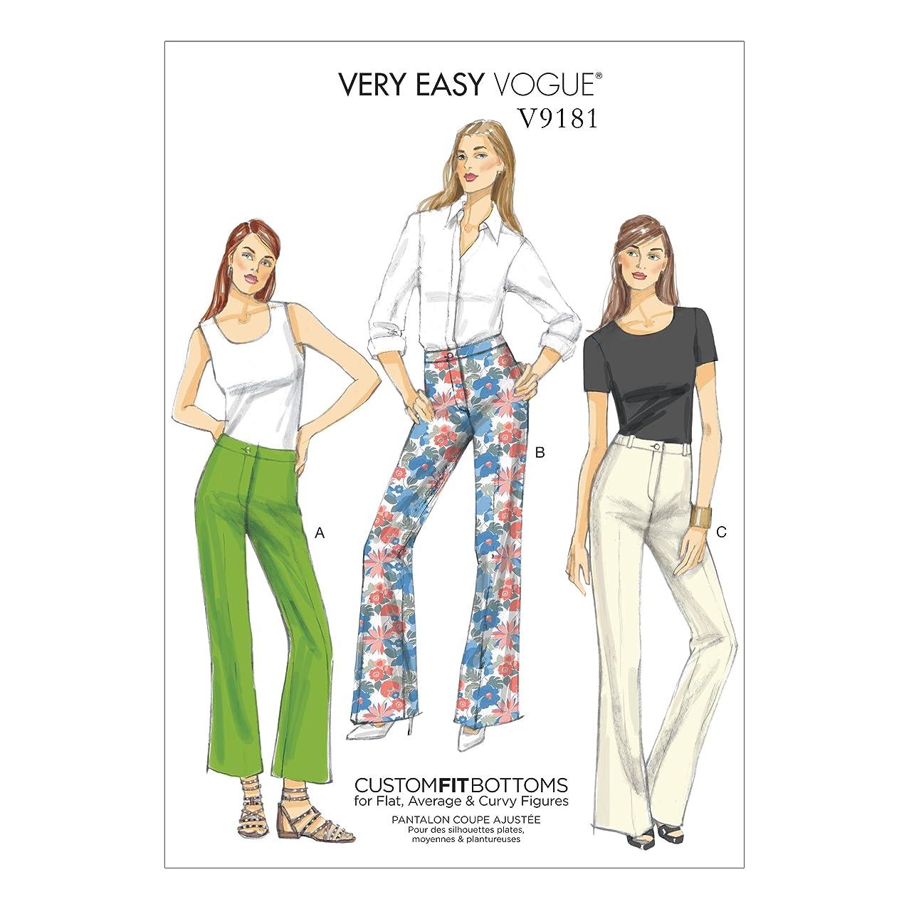 Vogue Patterns V9181E50 Misses' Custom-Fit Boot Cut Pants, 14-16-18-20-22, Red