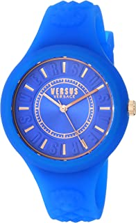 Women's FIRE Island Stainless Steel Quartz Watch with Silicone Strap, Blue, 18 (Model: SOQ150017)