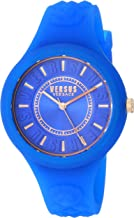 Versus by Versace Women's FIRE Island Stainless Steel Quartz Watch with Silicone Strap, Blue, 18 (Model: SOQ150017)