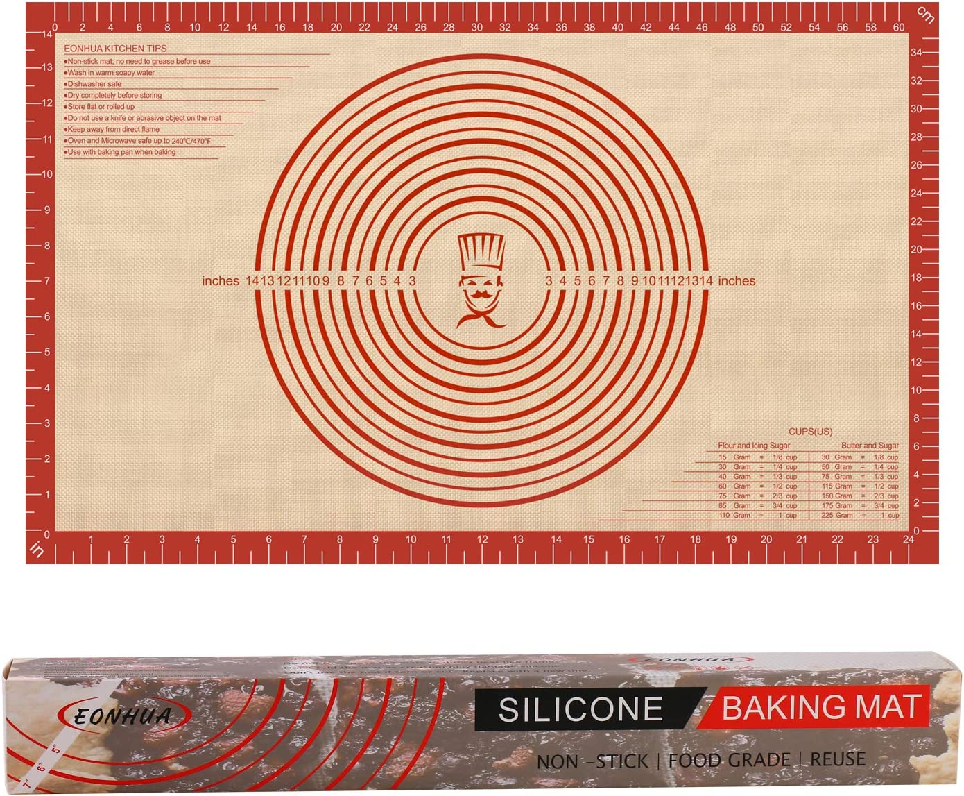 Silicone Pastry Mat Non Stick with Baking Rolling Brand Cheap Sale Venue Meas Dough half