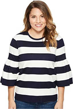 Petite Striped Ponte Bell-Sleeve Top