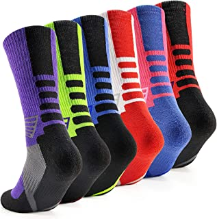 DILIBA Youth Boy's Basketball Socks Arch Support Cushion Breathable Crew Socks for Adults Unisex for Christmas Thanksgiving