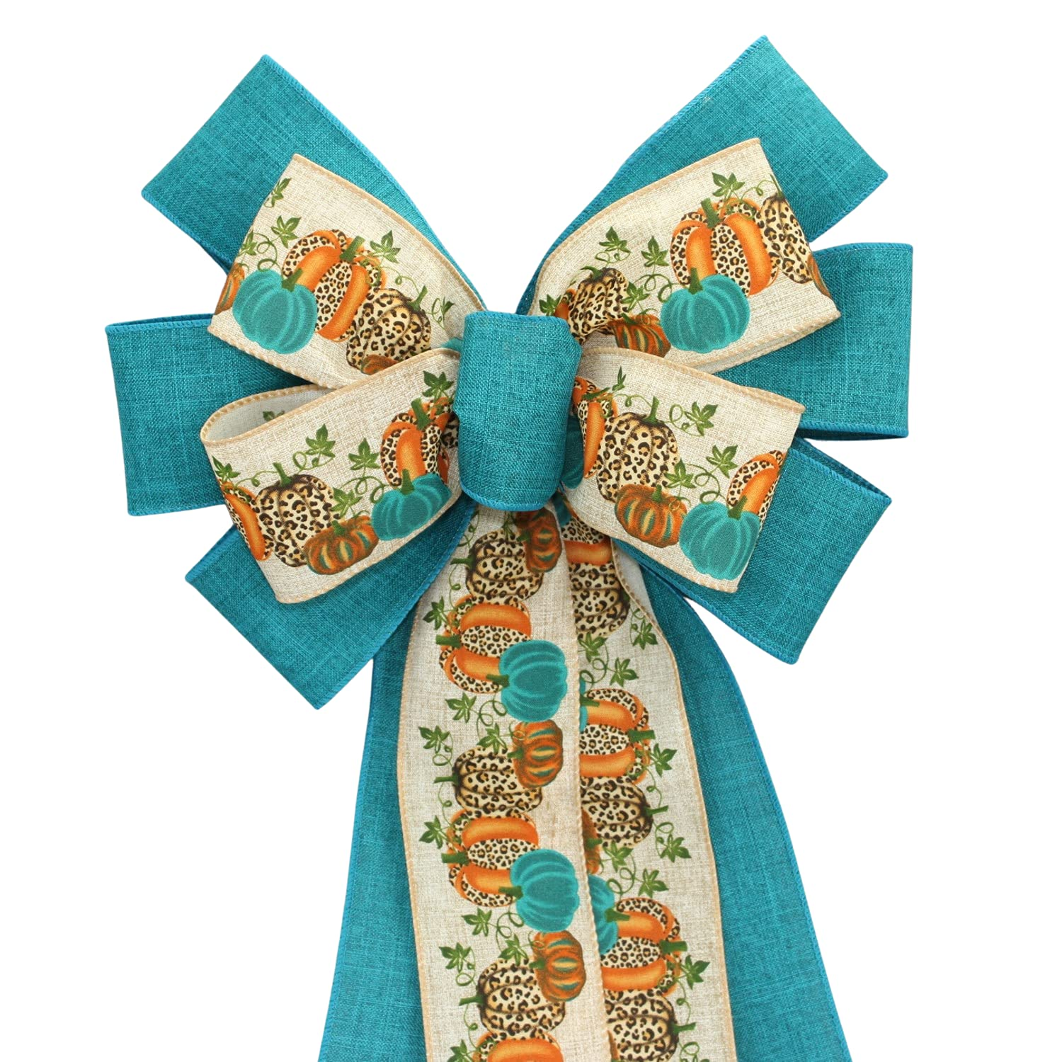 Teal Leopard Pumpkins High order Fall Now free shipping Bow Wreath