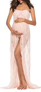 Saslax Women's Off Shoulder Ruffle Sleeve Lace Maternity Gown Maxi Photography Dress