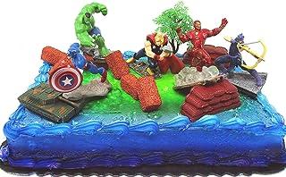 Avengers 15 Piece Birthday Cake Topper Set Featuring Captain America Iron Man Incredible Hulk