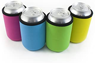 Beer Can Coolies - 4mm Thick - Easy-On Supercoolies™ - Premium Set of 4 Collapsible Can Sleeves - Pink, Green, Light Blue, Yellow - Extra Thick Neoprene with Stitched Fabric Edges