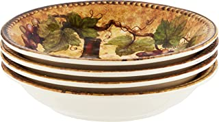 """Certified International Gilded Wine Soup/Pasta Bowls (Set of 4), 9.25"""" x 1.5"""", Multicolor"""