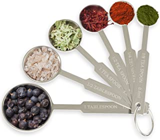 Royal Measuring Spoons Set - Stainless Steel Baking Spoon for Dry and Liquid Ingredients - Detachable Ring Holder - 6 Measurements