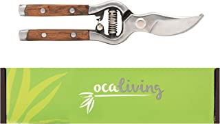 OCALiving Traditional Bypass Pruning Shears-Branch, Hedge, Shrub, Flower Clipper and Trimmer for Garden-Razor Sharp Stainless Steel Blade-Natural Wood Handles