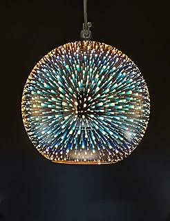 Lámpara Colgante de Luces LED de Araña de Colores 3D Lámpara Colgante de Base E27 con Bola de Cristal de Espejo 15CM(Bronce)