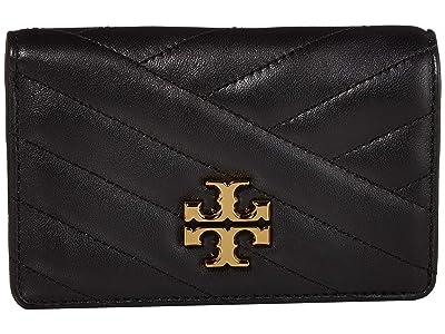 Tory Burch Kira Chevron Medium Slim Wallet (Black 1) Wallet Handbags