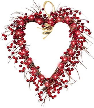 TURNMEON Prelit 16 Inch Heart Valentines Wreath Front Door Decorations Valentines Lights 20 LED Battery Operated 220 Red Berr