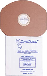 Janitized JAN-KAPV6-2(10) Premium Replacement Vacuum Paper Bag, Sanitaire SC412, KarcherTornado PV6, Cleanmax CMBP-6, Tennant V-BP-6, Power-Flite PF300/600BP, OEM#CMBP-10, C352-2500 (Pack of 10)