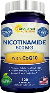 Sponsored Ad - Nicotinamide with CoQ10 (120 Capsules) - Vitamin B3 500mg (Niacinamide Flush Free) - Coenzyme Q10 Powder - ...