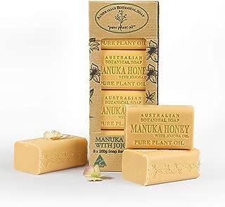 Australian Botanical Soap, Manuka Honey with Jojoba Oil Plant Oil Soap, 7 oz. 200g Bars - 8 Count