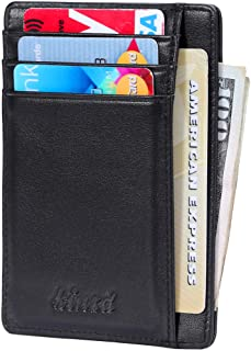 Slim Minimalist Leather RFID Front Pocket Wallet Thin Credit Card Holder Men