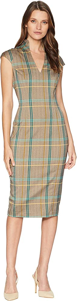 V-Neck Plaid Midi Dress