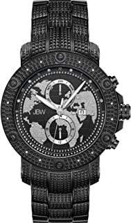 JBW Luxury Men's Veyron 18 Diamonds World Map Frosted Dial Watch