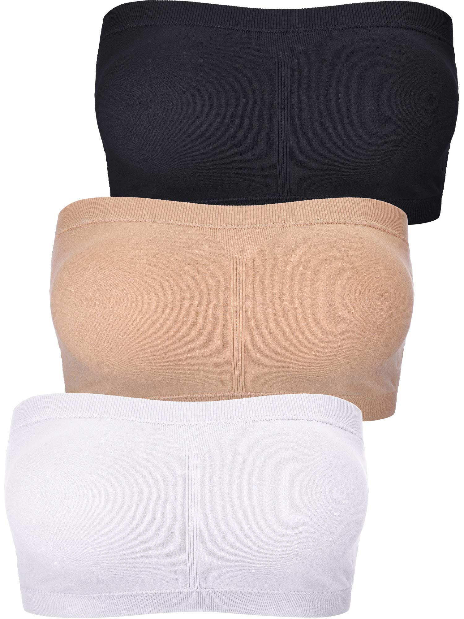 Boao Women Padded Strapless Soft Bra Seamless Bandeau Tube Top Bra 3 Pieces