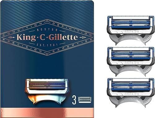 King C. Gillette Men's Neck Shaving Razor Blades, Pack of 3 Refills, with Skinguard and Gillette's Best and Sharpest ...