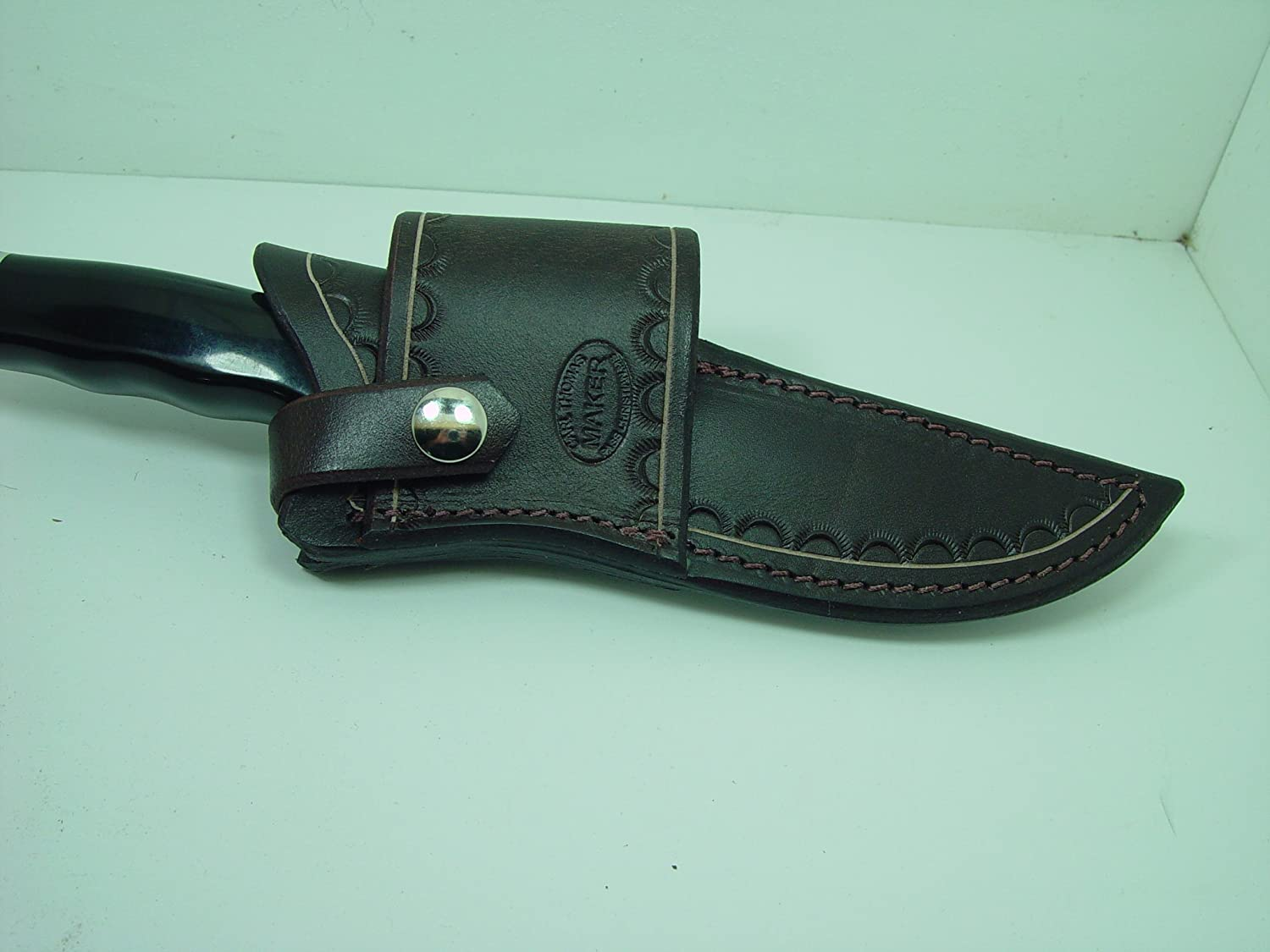 Custom Leather Cross A surprise price is realized half Draw Knife Sheath Buck Brown Dyed 119 for a