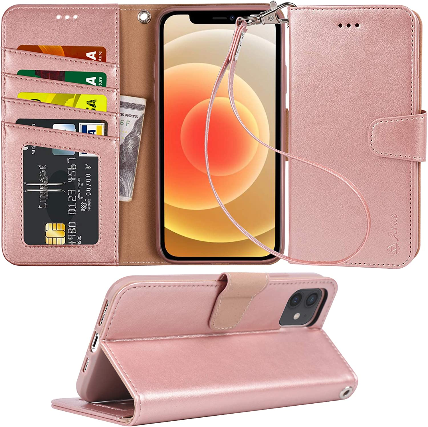 Arae Compatible with iPhone 12 Case and iPhone 12 Pro Case Wallet Flip Cover with Card Holder and Wrist Strap for iPhone 12/12 Pro 6.1 inch- Rose Gold