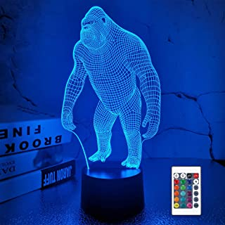 Gorilla 3D Night Light, Monkey LED Illusion Hologram Lamp 16 Colors Changing with Remote Control, Kids' Bedroom Home Decor...