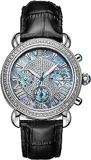 JBW Women's JB-6210 Victory Three Sub-Dial Chronograph Diamond Watch for Women with Analog Display Women's Black/Blue Moth...