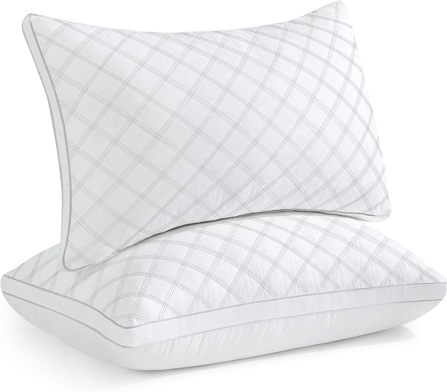 Oubonun Standard Size Pillows for Sleeping Set of 2, Down Alternative Pillows, Supportive Bed Pillow for Side Sleepers (Standard, 20 x 26 Inch, White Side)