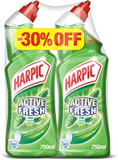 Harpic Toilet Cleaner Liquid Active Fresh Pine, 750ml (Pack of 2)