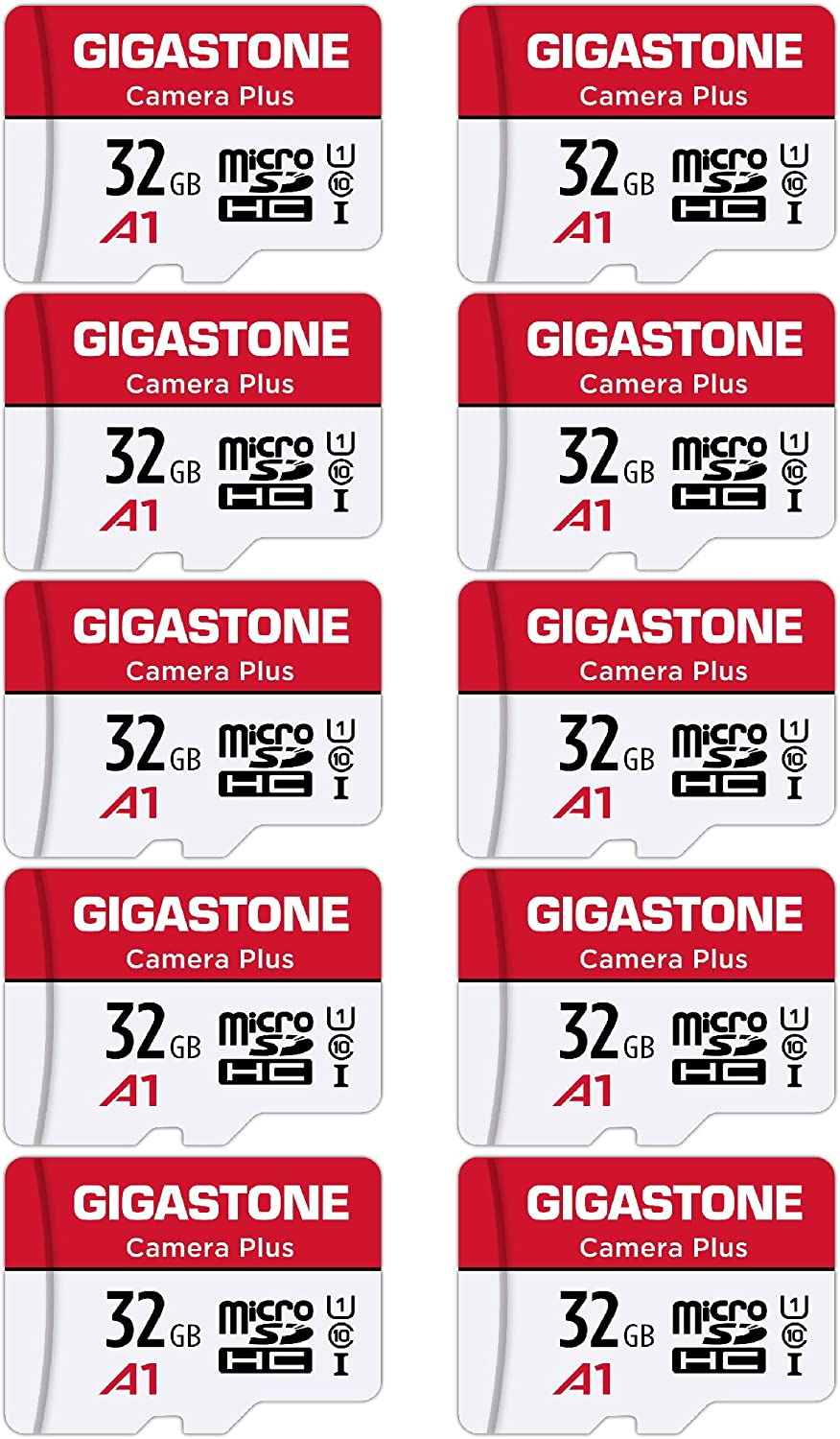 [Gigastone] Micro SD Card 32GB 10-Pack, Camera Plus, MicroSDHC Memory Card for Video Camera, Wyze Cam, Security Camera, Roku, Full HD Video Recording, UHS-I U1 A1 Class 10, up to 90MB/s, with Adapter