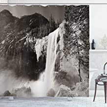 Ambesonne Apartment Decor Shower Curtain Set, Waterfalls in Yosemite National Park in California Monochromic Old Picture P...