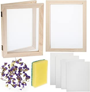 12 Pieces Paper Making Kit, 2 Size Wooden Paper Making Mould Frame Paper Making Screen Paper Making Mould Dried Flowers, S...