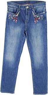 Womens Embroidered Mid-Rise Straight Leg Jeans