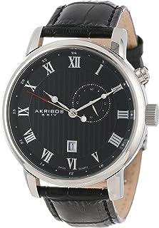 Akribos XXIV Men's AK595SS Swiss Leather Strap Date Watch
