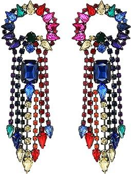 Rainbow Rhinestone Fringe Earrings