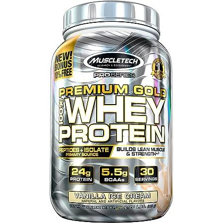 Whey Protein Powder   MuscleTech Premium Gold 100% Whey Protein Powder   Whey Protein Isolate & Peptides   Whey Isolate Protein Powder for Muscle Gain   Vanilla Protein Powder, 2.2 lbs (30 Servings)