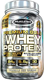 MuscleTech Premium Gold 100% Whey Protein, Premium Whey Protein Powder, Instantized and Ultra Clean 100% Whey Protein, Van...