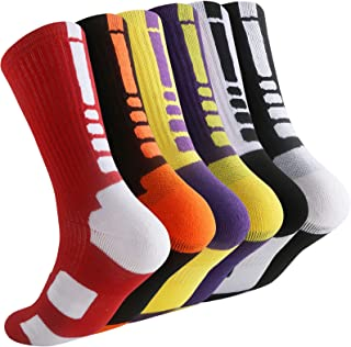 Thsbird Mens Outdoor Sport Cushion Basketball Crew Socks,Dri-Fit Mid-Calf Compression Athletic Ankle Socks Boy Girl