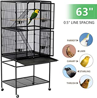 ZohnZone 53/63 Inch Large Bird Cage Iron Flight Wheel Cage Pet Products with Play Top and Rolling Stand for Parrots Conures Lovebird Cockatiel Parakeets
