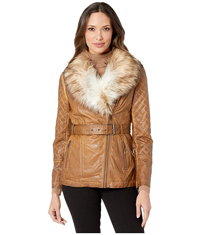 Scully  Faux Fur and Leather Belted Jacket (Brown) Womens Jacket