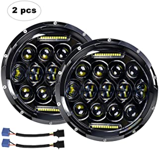 """LED Headlight for Jeep Wrangler AAIWA 7"""" 75W Round LED Headlamp with Daytime Running Light DRL High Low Beam for Jeep Wrangler JK TJ LJ Motorcycle with H4 H13 Adapter,2PCS,2 Years Warranty"""