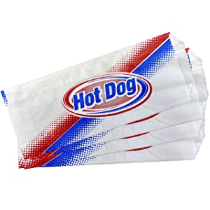 Disposable Hot Dog Sandwich Bags - Dry Wax - Red White and Blue - 50 Pack