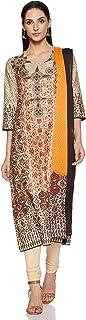 BIBA Women's cotton straight Salwar Suit Set (SKD6315CREAM_ Crm_ M (34))