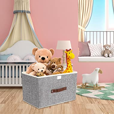 TYEERS Foldable Storage Bins 2 Pack Storage Boxes with Lids and Handles Storage Baskets in Linen Storage Organizers for Toys,