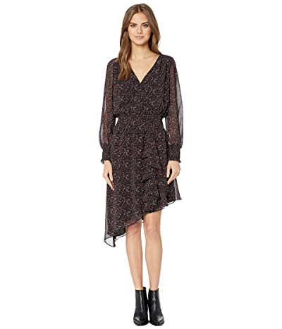 1.STATE Long Sleeve Asymmetric Hem Baroque Floral Dress (Black Multi) Women